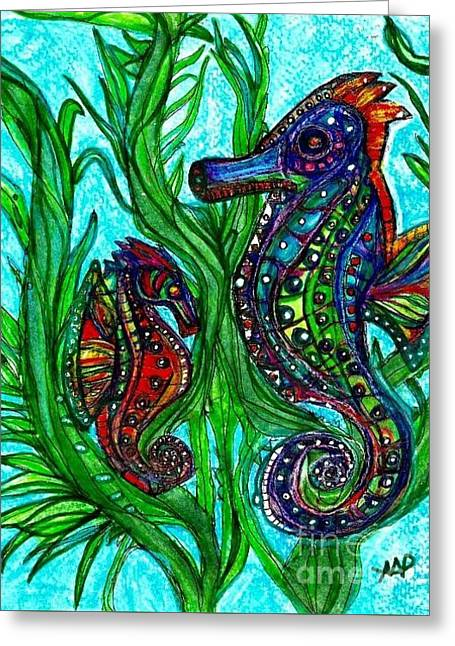 Sea Horse Greeting Cards - Psychedelic Sea Horses Greeting Card by Mary Ann Perkins