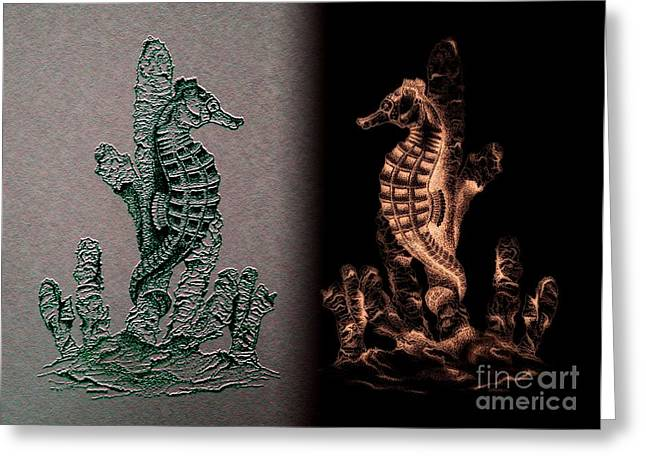 Sea Horses Symmetrical Art  Greeting Card by Mario Perez