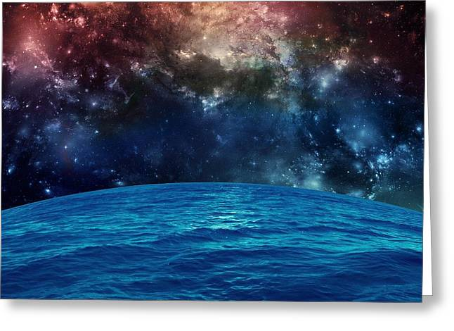 Sun Digital Art Greeting Cards - Sea in Space Greeting Card by Rr Co