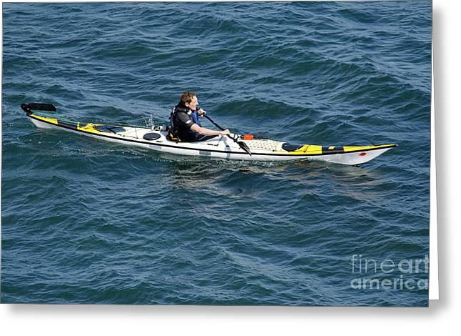 Sea Kayak Greeting Cards - SEA KAYAK man kayaking off the coast of Dorset England UK Greeting Card by Andy Smy