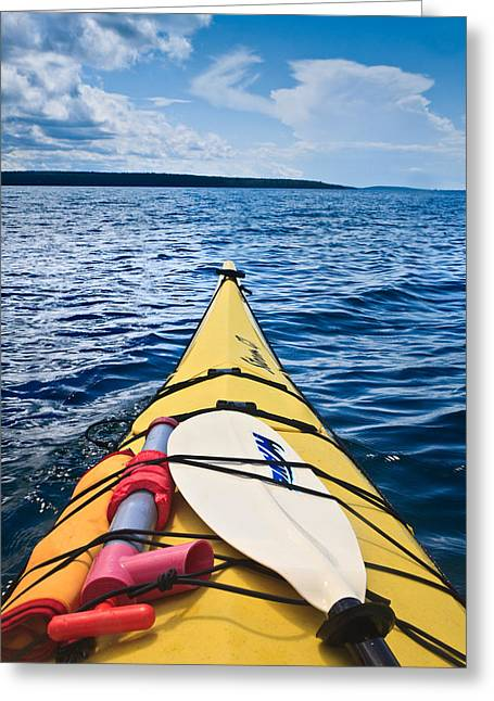Kayaking Greeting Cards - Sea Kayaking Greeting Card by Steve Gadomski