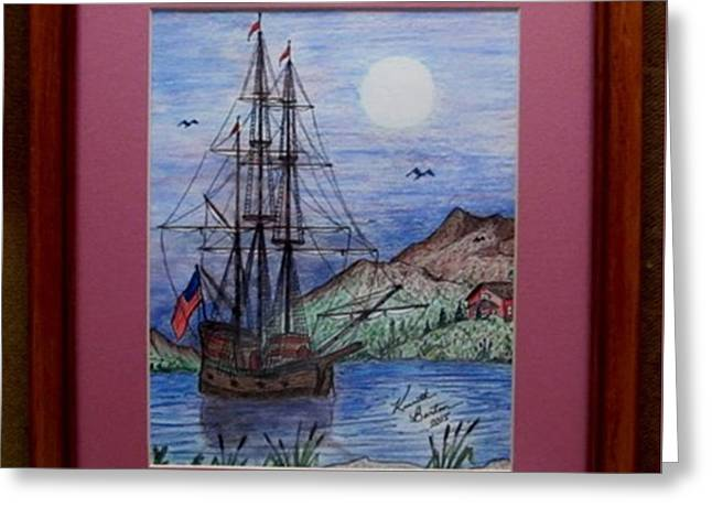 Sea Lions Mixed Media Greeting Cards - Sea Lion basking in the Moonlight Greeting Card by Kenneth Barton