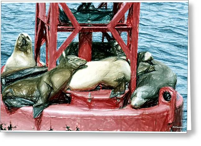 Sea Lions Greeting Cards - Sea Lions at Rest Greeting Card by Craig Chambers