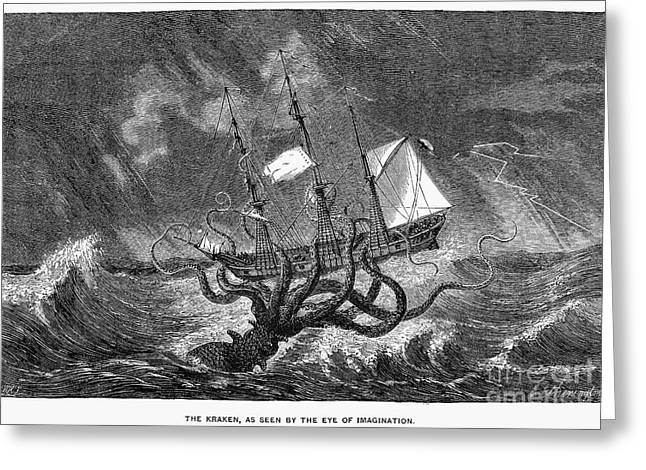 Aquatic Greeting Cards - SEA MONSTER, 19th CENTURY Greeting Card by Granger