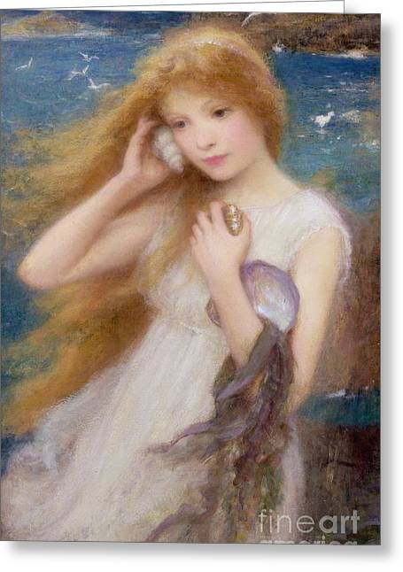 Cliffs Paintings Greeting Cards - Sea Nymph Greeting Card by William Robert Symonds