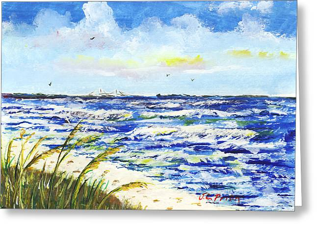St Petersburg Florida Paintings Greeting Cards - Sea Oats and Skyway Greeting Card by JC Prida