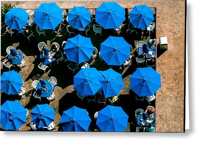 Sea View Greeting Cards - Sea of Blue Umbrellas Greeting Card by E Faithe Lester
