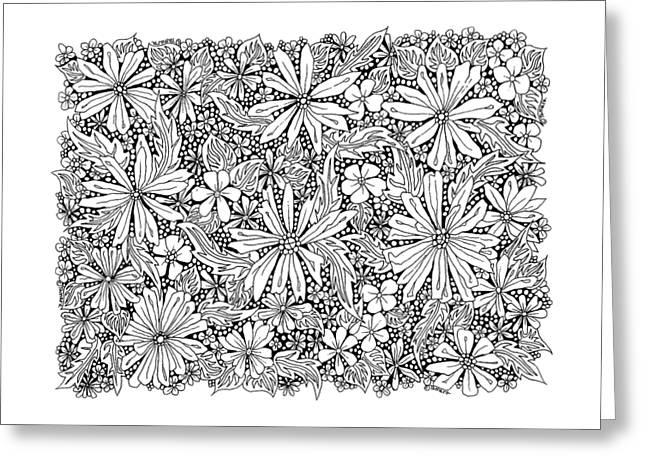 Sea Of Flowers And Seeds At Night Horizontal Greeting Card by Tamara Kulish