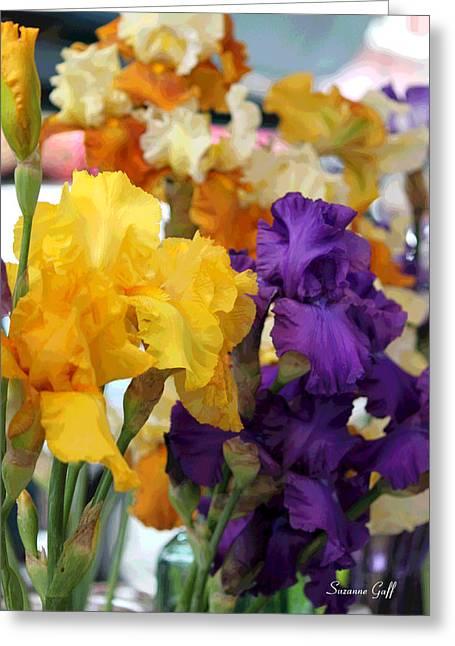 Iris Digital Art Greeting Cards - Sea of Irises enhanced Greeting Card by Suzanne Gaff