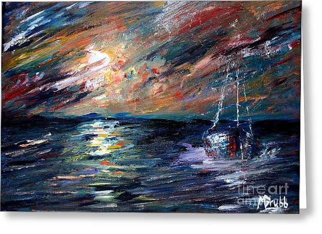 Sailboat Ocean Mixed Media Greeting Cards - Sea of storms Greeting Card by Mike Grubb