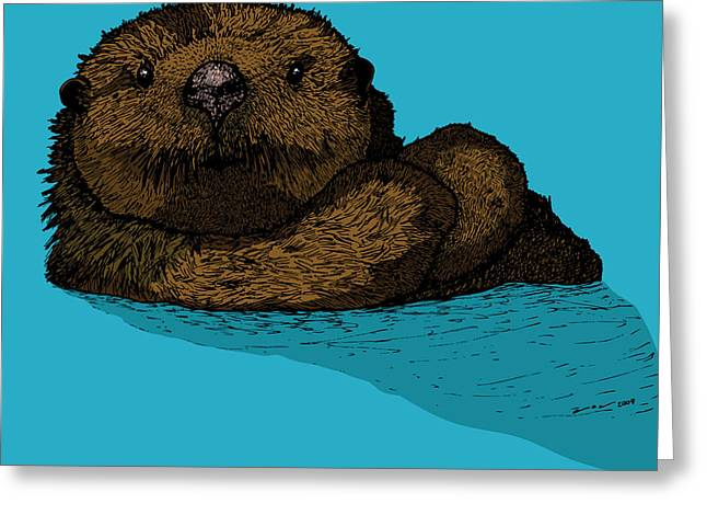 Wild Life Drawings Greeting Cards - Sea Otter - Full Color Greeting Card by Karl Addison