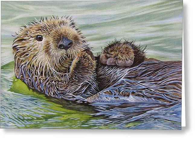 Ocean Mammals Greeting Cards - Sea Otter Greeting Card by Greg Halom
