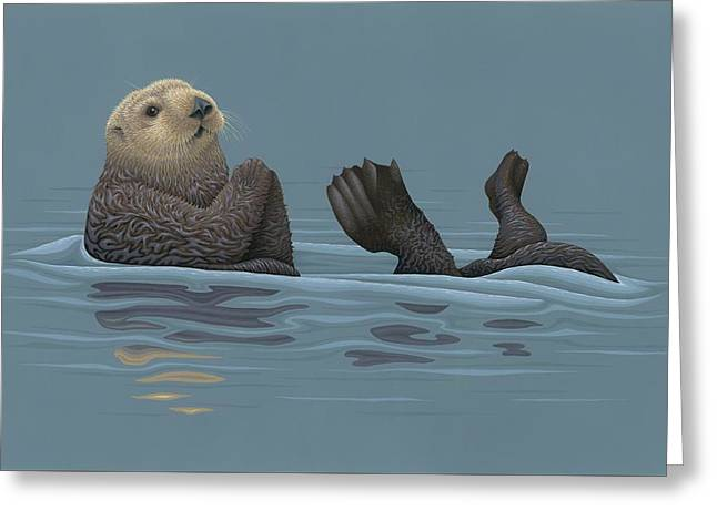 Sea Otter Greeting Card by Nathan Marcy