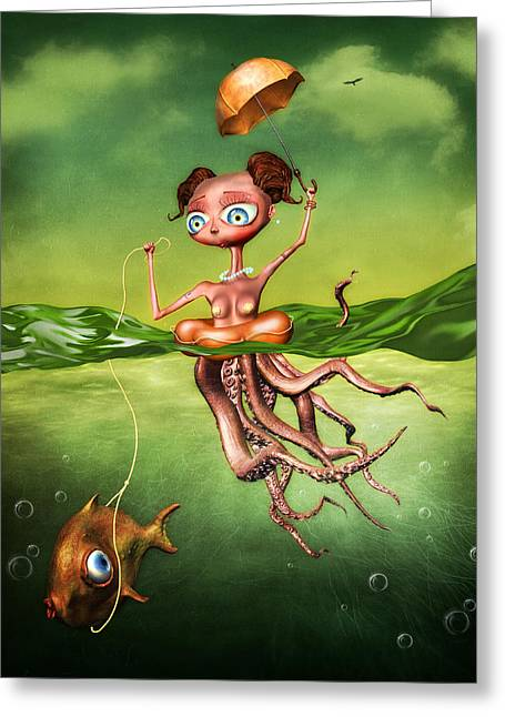Floating Girl Greeting Cards - Sea Ride Greeting Card by Osvaldo Gonzalez
