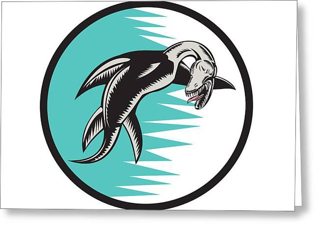 Sea Dragon Greeting Cards - Sea Serpent Circle Woodcut Greeting Card by Aloysius Patrimonio