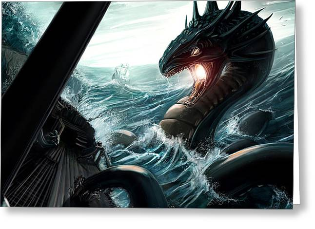 Pirate Ships Greeting Cards - Sea Serpent Greeting Card by Michael Clarke