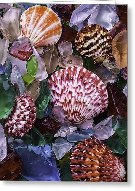 Sea Shells Among Sea Glass Greeting Card by Garry Gay