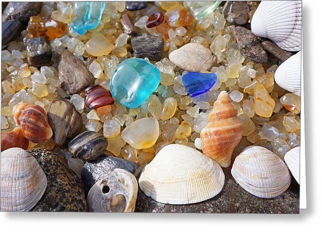 Sea Shells Art Prints Blue Seaglass Sea Glass Coastal Greeting Card by Baslee Troutman Art Prints