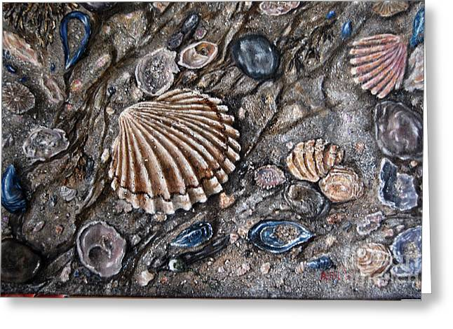 Ocean Shore Mixed Media Greeting Cards - Sea Shore Greeting Card by Avril Brand