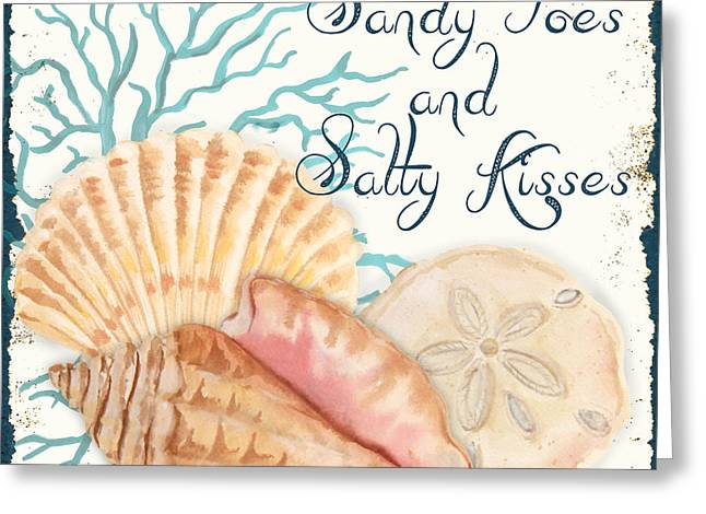 Sea Shell Art Greeting Cards - Sea Side-JP2731 Greeting Card by Jean Plout