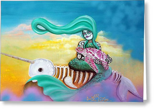 Sea Animals Greeting Cards - Sea Sky Greeting Card by Laura Barbosa