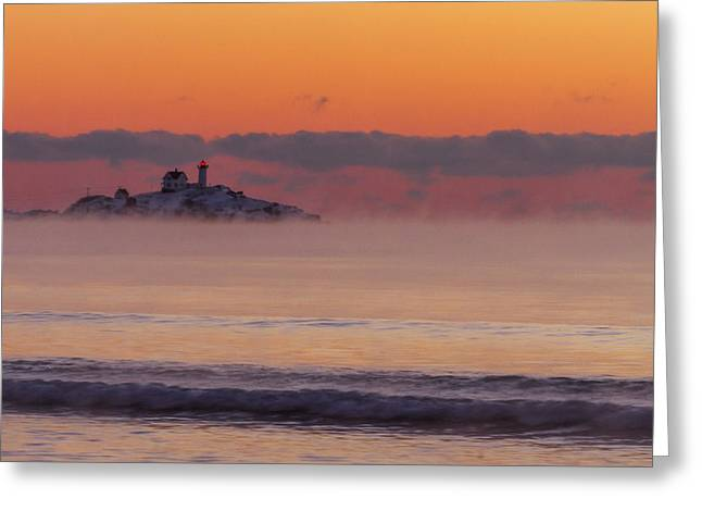 Cape Neddick Lighthouse Greeting Cards - Sea Smoke Sunrise at the Nubble Greeting Card by Shane Borelli