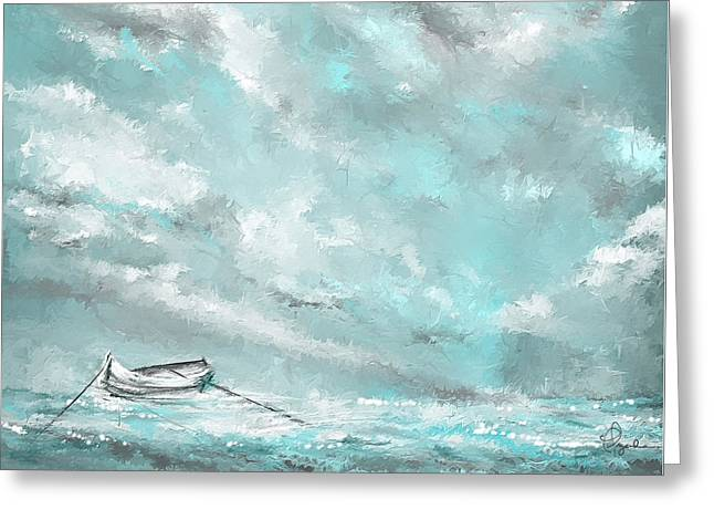Blue And Green Greeting Cards - Sea Spirit - Lighter Version - Teal And Gray Art  Greeting Card by Lourry Legarde