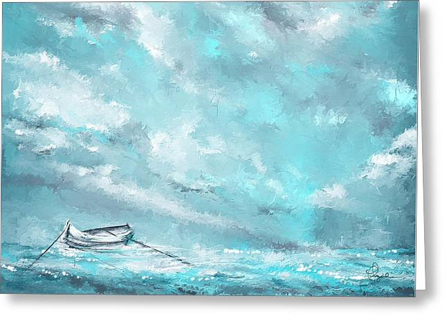 Blue And Green Greeting Cards - Sea Spirit - Teal And Gray Art Greeting Card by Lourry Legarde