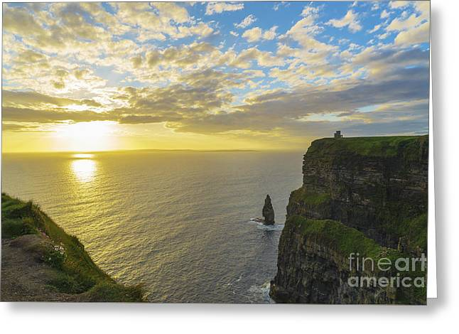 Cliffs Pyrography Greeting Cards - sea stack at the cliffs of Moher Greeting Card by Niall Cosgrove
