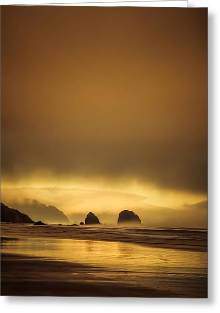 Monolith Greeting Cards - Sea Stacks at Sunset Greeting Card by Don Schwartz