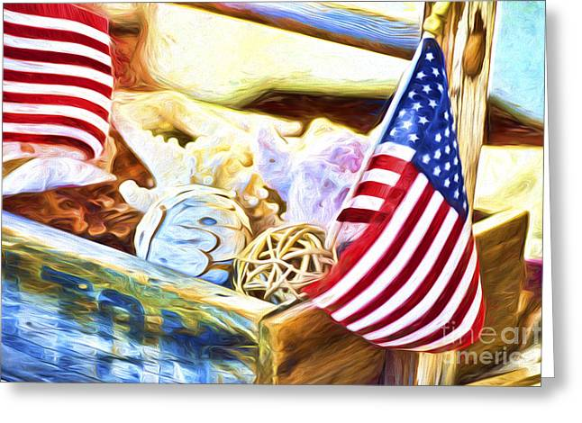 4th July Greeting Cards - Sea Star and Stripes Greeting Card by Flamingo Graphix John Ellis