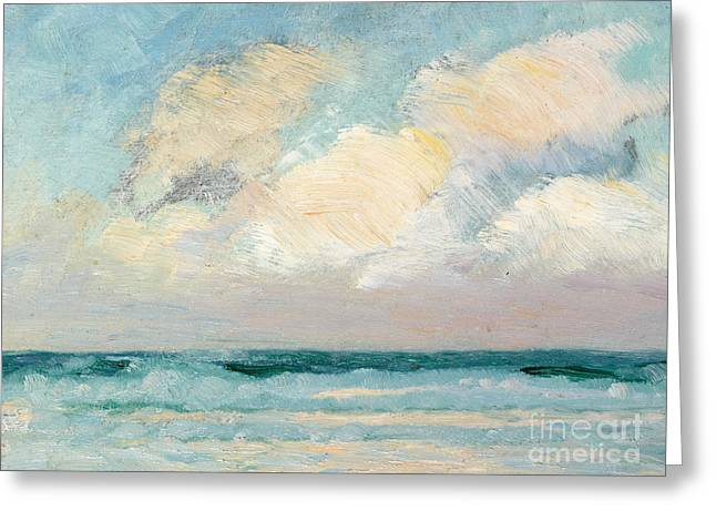 Beach White Greeting Cards - Sea Study - Morning Greeting Card by AS Stokes
