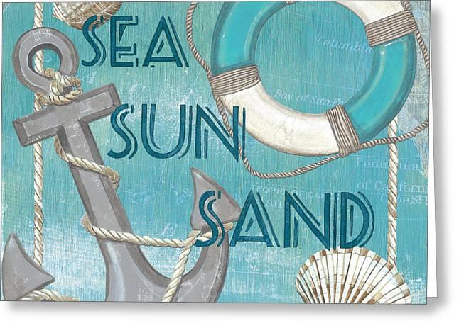 Sea Sun Sand Greeting Card by Debbie DeWitt