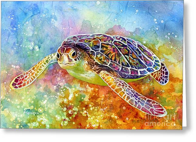 Tortoise Greeting Cards - Sea Turtle 3 Greeting Card by Hailey E Herrera