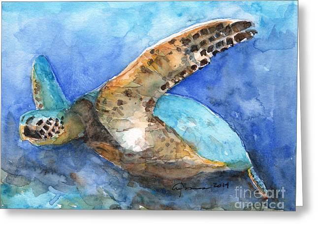 Hafner Greeting Cards - Sea Turtle #4 Greeting Card by Claudia Hafner