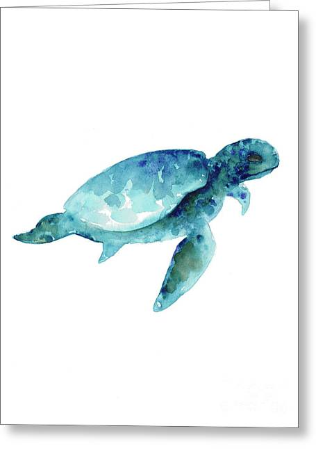 Sea Turtle Abstract Painting Greeting Card by Joanna Szmerdt