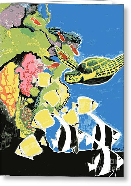 Green Sea Turtle Paintings Greeting Cards - Sea Turtle and Angel Fish Greeting Card by Genevieve Esson