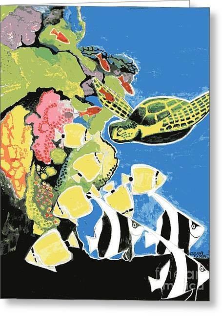 Green Sea Print Greeting Cards - Sea Turtle and Angel Fish Greeting Card by Genevieve Esson