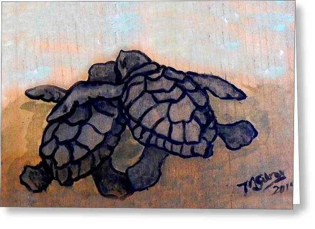 Underwater Photos Paintings Greeting Cards - Sea Turtle Babies Greeting Card by W Gilroy