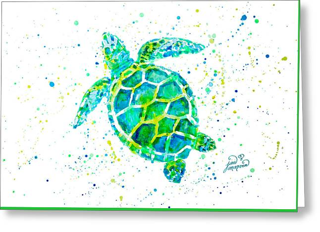 Sea Animals Greeting Cards - Sea Turtle by Jan Marvin Greeting Card by Jan Marvin