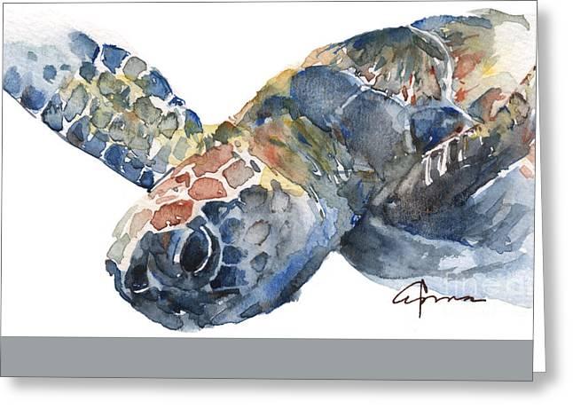 Sea Animals Greeting Cards - Sea Turtle Greeting Card by Claudia Hafner