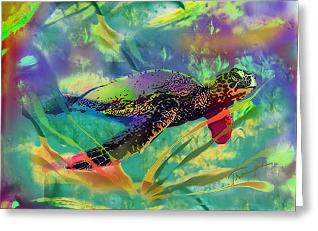 Love The Animal Greeting Cards - Sea Turtle  Greeting Card by Connie  Troupe