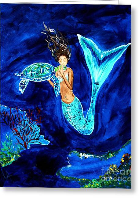 Under The Sea Mermaid Greeting Cards - Sea Turtle Kiss Greeting Card by Leslie Allen