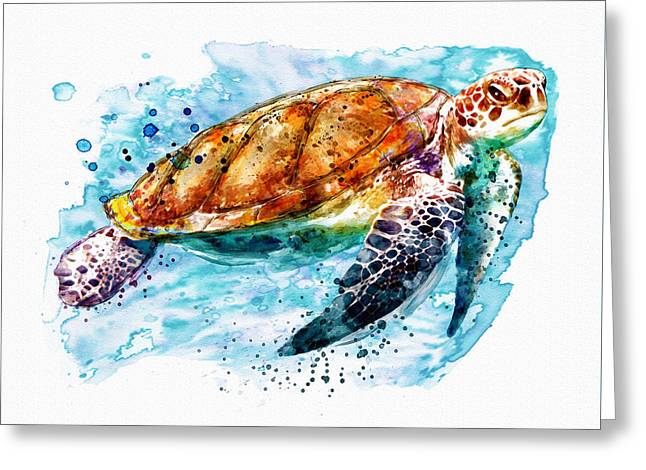 Sea Turtle  Greeting Card by Marian Voicu