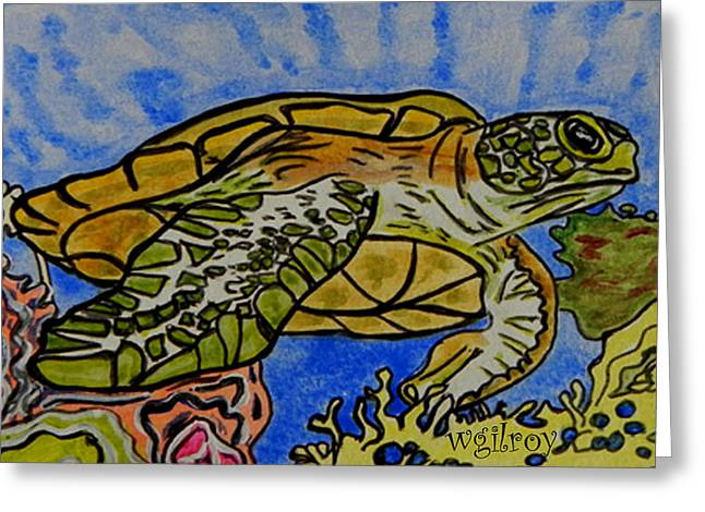 Hawksbill Sea Turtle Greeting Cards - Sea Turtle Reef Greeting Card by W Gilroy