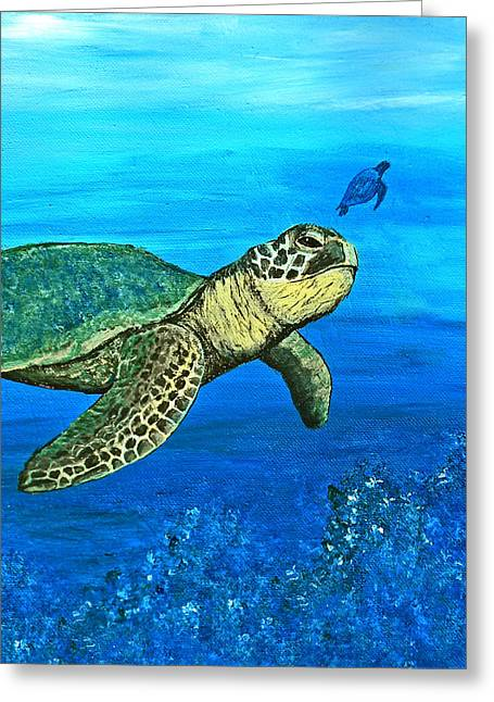 Sea Turtle Greeting Card by Sabrina Zbasnik