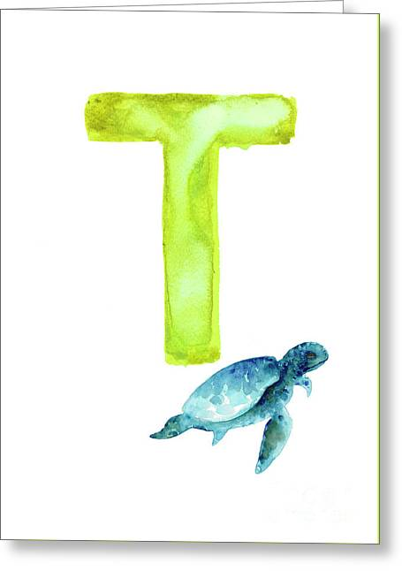 Sea Turtle Watercolor Alphabet Poster Greeting Card by Joanna Szmerdt