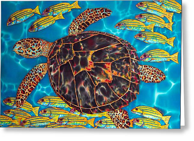 Sea Animals Tapestries - Textiles Greeting Cards - Sea Turtle with Schooling Fish Greeting Card by Daniel Jean-Baptiste
