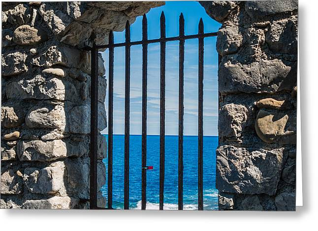 Italian Landscapes Pyrography Greeting Cards - Sea window Greeting Card by Andrea Casali