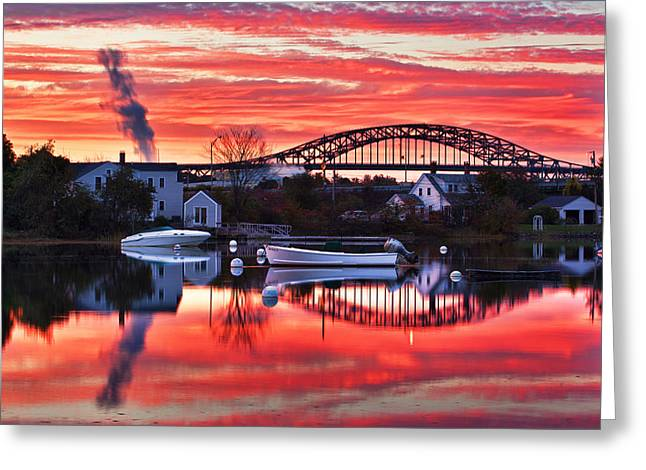 Smokestack Greeting Cards - Seacoast Sundown Greeting Card by Eric Gendron